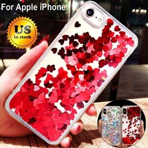 iPhone 7/8 Red Heart Glitter Waterfall Phone Case